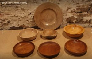 Collection of bowls in yew, sycamore, beech, pear and utile